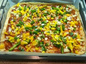 Gemüse auf Pizza